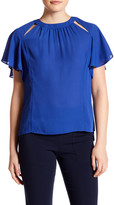 Laundry by Shelli Segal Short Flutter Sleeve Front Cutout Blouse