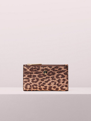 Kate Spade Metallic Leopard Small Slim Bifold Wallet