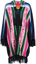 Sacai patterned fringed poncho - women - Cotton - 3
