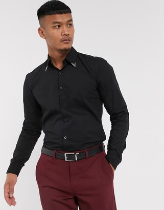 Lockstock Eastwood metal collar tipped shirt in black