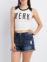 Charlotte Russe Graphic Cropped Baseball Tee