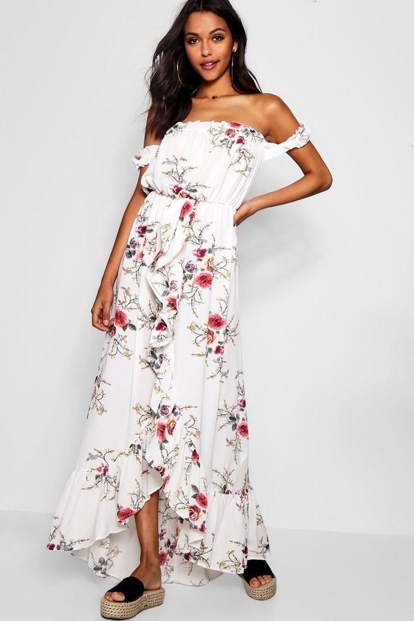 Floral Off Shoulder Ruffle Wrap Maxi Dress