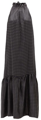 ASCENO Ibiza Square-print High-neck Tiered Silk Dress - Black Multi