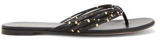 Gianvito Rossi Beaded Flat Leather Sandals - Womens - Black