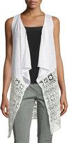 XCVI Mimi Lace-Panel Sleeveless Cardigan, Natural
