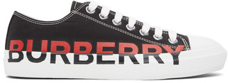 Burberry Black and Red Larkhall M Logo Sneakers