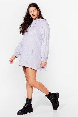 Nasty Gal Womens All Night Longline Plus Oversized Hoodie Dress - Grey