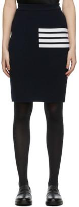 Thom Browne Navy Wool 4-Bar Skirt
