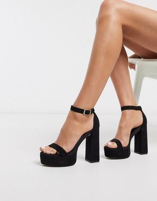 ASOS DESIGN Noon platform block heeled sandals in black