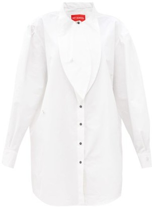 Art School - Artist Brooch-embellished Cotton Shirt Dress - White