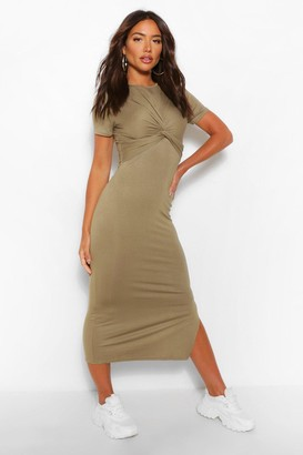 boohoo Wrap Detail Jersey Midaxi Dress