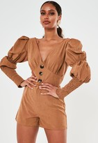 Missguided Brown Faux Suede Button Front Playsuit