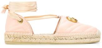 Gucci Matelasse Ankle-Wrap Espadrilles