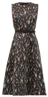 Erdem Farrah Printed Twill Dress - Black Blue