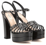 Valentino Embellished Leather Platform Sandals