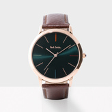 Paul Smith Men's Dark Green And Brown 'Ma' Watch