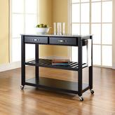 Crosley 42 in. Solid Granite Top Kitchen Island Cart with Optional Stool Storage in Black