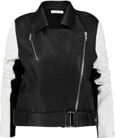 Helmut Lang Two-tone textured-leather biker jacket
