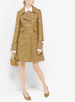 Michael Kors Floral Metallic-Embroidered Brocade Coat