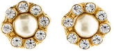 Chanel Crystal Faux Pearl Earrings