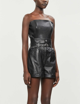Jitrois Jade high-rise leather shorts