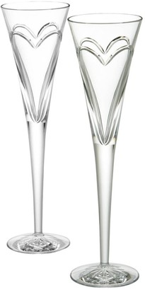 Waterford Wishes Love & Romance Crystal Toasting Flutes/Set Of 2