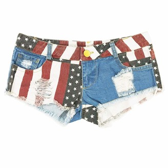 HGhot Women's Low-Rise American Flag Print Daisy Duke Ripped Denim Shorts (Color : National Flag Size : XXL)