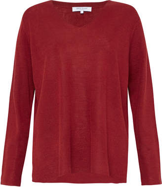 Great Plains Authie Knit V neck Jumper Crimson - 8 | wool | crimson - Crimson