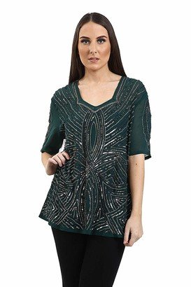 Brooklyn Imports LTD Womens Plus Size Beaded Blouse Sequin Pattern Ladies Top Size 16-24 Plus Size Fashion (Emerald 18)