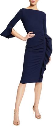 Chiara Boni Beymali Side-Ruffle Sheath Dress