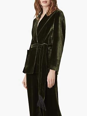 Jaeger Velvet Shawl Collar Jacket, Green