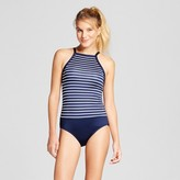 Clean Water Women's Striped High Neck One Piece Swimsuit Blue