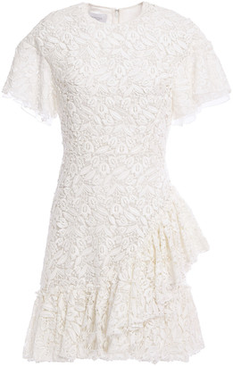 Giambattista Valli Ruffled Cotton-blend Guipure Lace Mini Dress