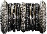 Indian Bridal Collection! Panache' Black Bangles Set in Silver Tone By BangleEmporium. Small Size 2.6