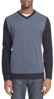 Paul & Shark Solid & Stripe V-Neck Wool Sweater