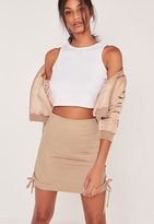 Missguided Faux Suede Lace Up Side Mini Skirt Nude