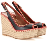 Valentino Leather Peep-toe Espadrille Wedge Sandals