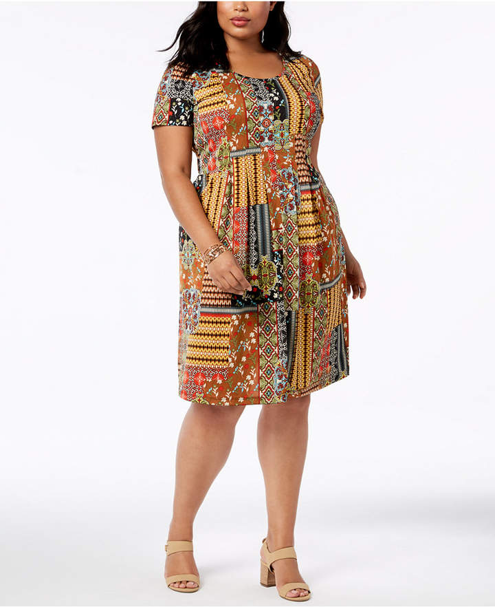 NY Collection Plus & Petite Plus Size Printed Fit & Flare Dress