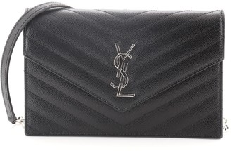 Saint Laurent Classic Monogram Wallet on Chain Matelasse Chevron Leather Small