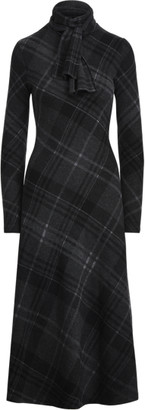 Ralph Lauren Plaid Cashmere Knit Tie-Neck Dress