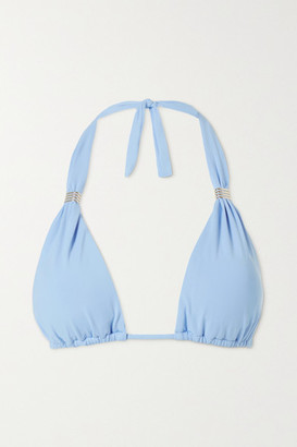 Melissa Odabash Grenada Embellished Triangle Bikini Top - Light blue