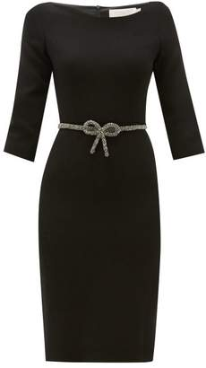 Goat Impact Crystal Bow-belt Wool-crepe Dress - Womens - Black