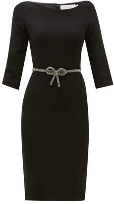 Goat Impact Crystal Bow-belt Wool-crepe Dress - Womens - Black