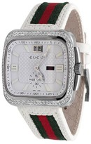 Gucci YA131303 Coupe Red Green Flag Band With Diamonds Sports Mens Watch