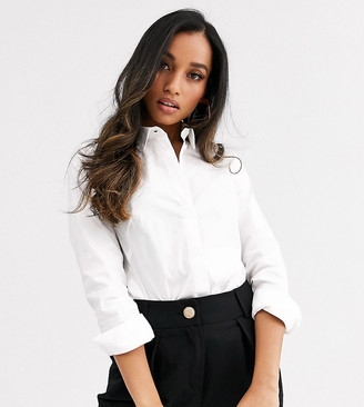 ASOS DESIGN Petite long sleeve fitted shirt in stretch cotton in white
