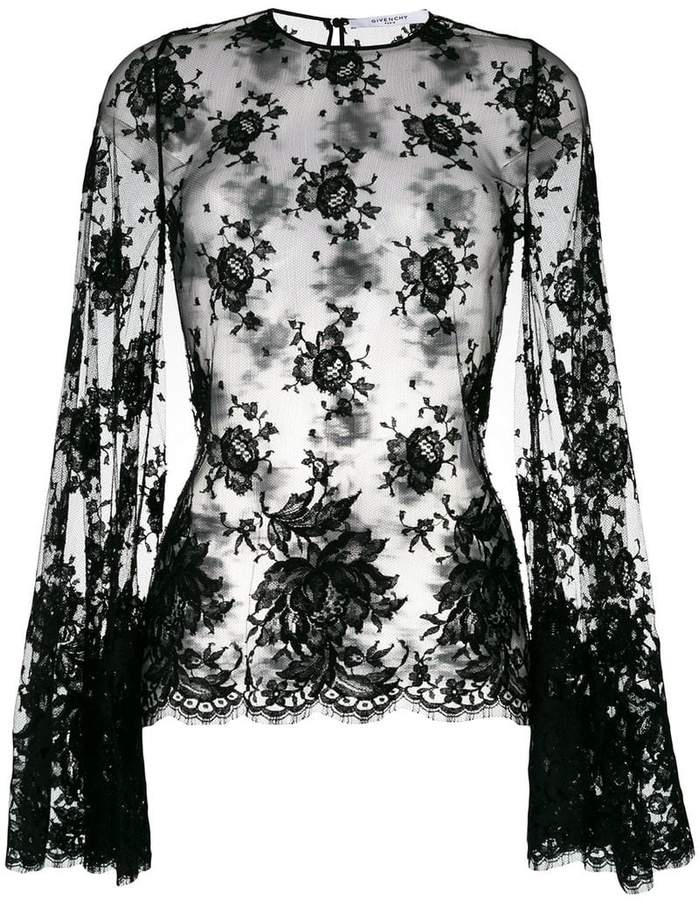 Givenchy sheer floral lace blouse