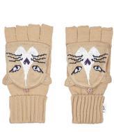 Yumi Embellished Cat Gloves Beige
