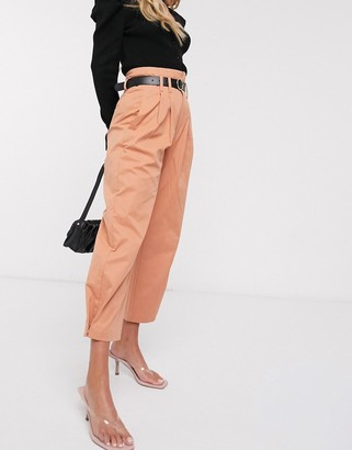 Stradivarius paperbag pants with belt in peach