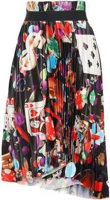 Balenciaga Asymmetric Pleated Printed Stretch-satin Skirt
