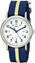Timex Unisex T2P142 Weekender Blue/Yellow Stripe Nylon Slip-Thru Strap Watch